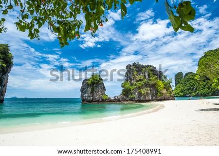 Skies, crystal clear waters, beautiful white sand beaches on the hong island in Krabi, Thailand (koh hong) - stock photo