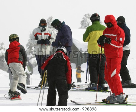 Skiing and Snowboarding - stock photo