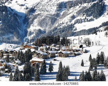 Skiing area near Amden (St. Gallen, Switzerland) - stock photo