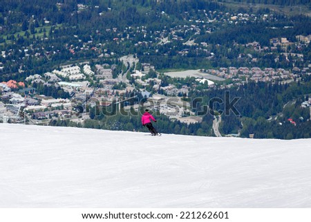 Skiing at the backcomb Whistler Canada - stock photo