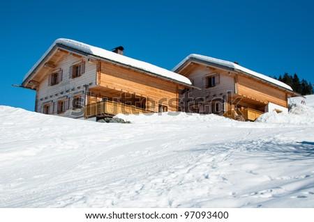 Skiing huts in Montafon - stock photo