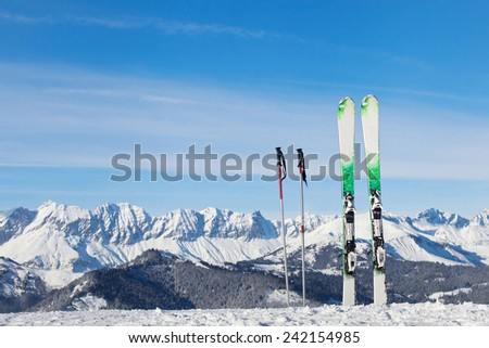 skiing in Alps, ready for winter vacations - stock photo