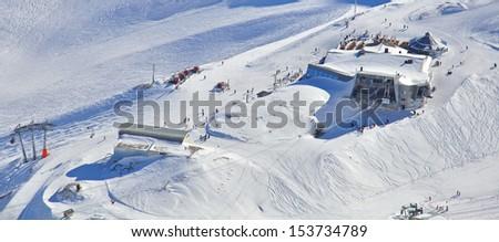 Skiing in Bavarian Alps - stock photo