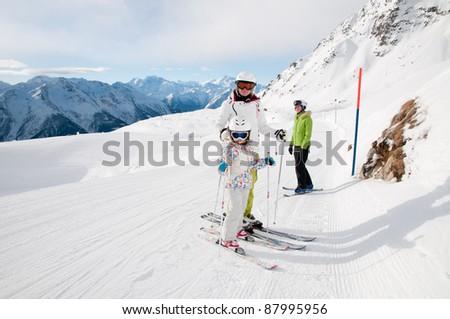 Skiing in Swiss Alps - stock photo