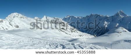 Skiing in the Alps, Switzerland, panoramic view - stock photo