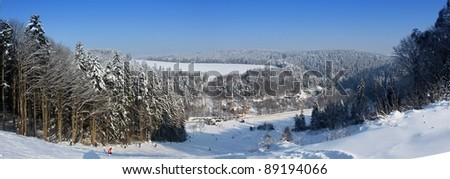 "skiing in the Czech Republic, Centre of ""Bystre Hamry"", panorama - stock photo"