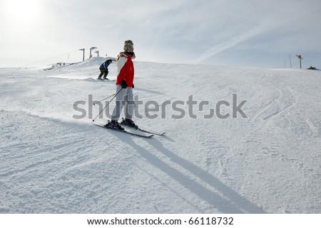 Skiing in winter - stock photo