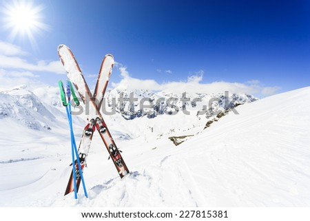 Skiing , mountains and ski equipments - stock photo