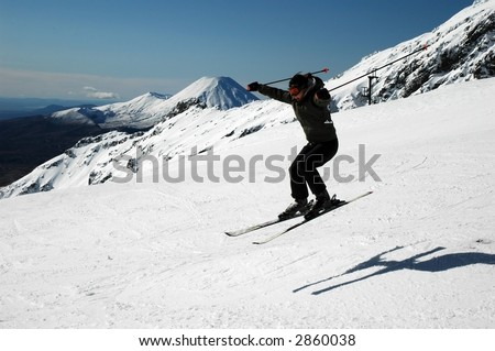 Skiing Mt. Ruapehu New Zealand - stock photo