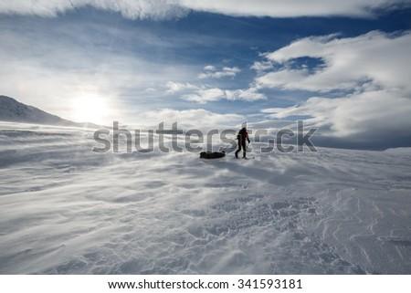 Skiing nicht Northern Sweden - stock photo