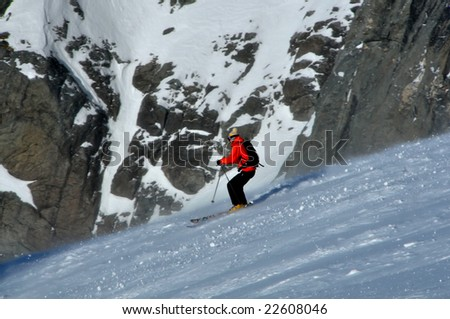 skiing off-piste on a glacier