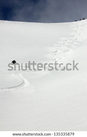 Skiing on a beautiful winter day in the Utah mountains, USA. - stock photo