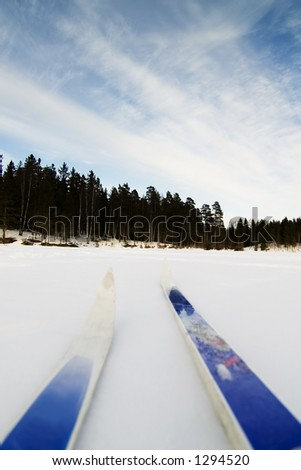 Skiing on a bright sunny day - stock photo
