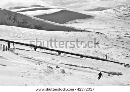 Skiing on Cairngorm Mountain, Scotland - stock photo