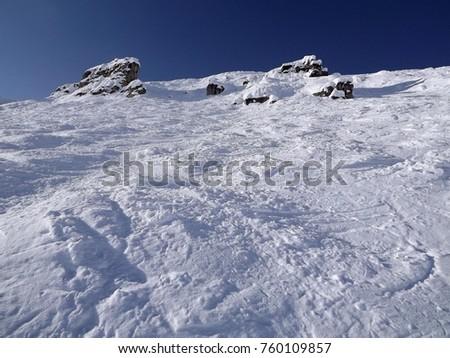 Skiing On Double Black Diamond Run At Kickinghorse Ski Resort