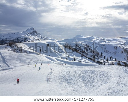 Skiing on the dolomites - stock photo
