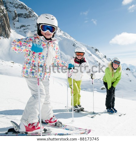Skiing - portrait of female skiers - stock photo