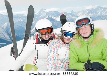 Skiing - portrait of female skiers - stock photo