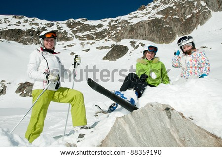 Skiing - portrait of resting skiers