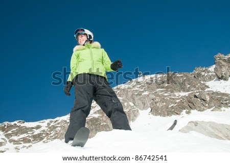 Skiing - portrait of young skier - stock photo