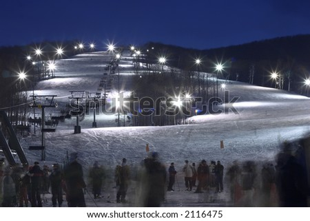 skiing resort in the evening - stock photo