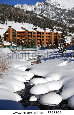Skiing resort in the middles of the beautiful rockie mountains. - stock photo