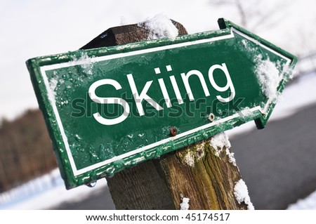SKIING road sign - stock photo