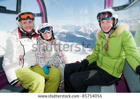 Skiing - skiers in cable car