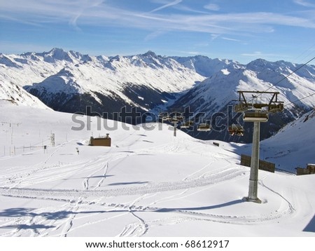 Skiing slope at skiing resort Davos, Switzerland - stock photo