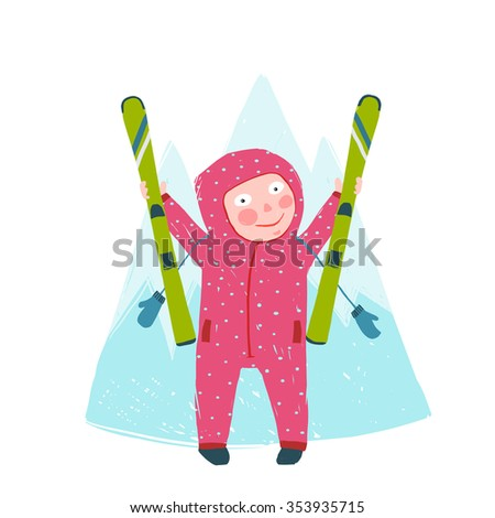 Skiing Sport Child Girl in Winter Clothes with Skies Colorful Cartoon. Happy kid holding skies near mountain. Colorful kid hand drawn sketchy feel illustration. Raster variant. - stock photo