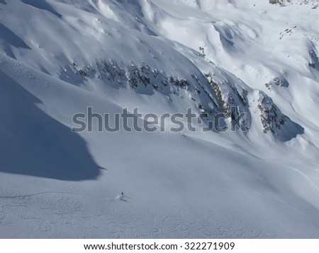 skiing the alps. ski with great winter panorama