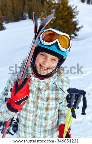 Skiing, winter, child - young skier girl in winter resort