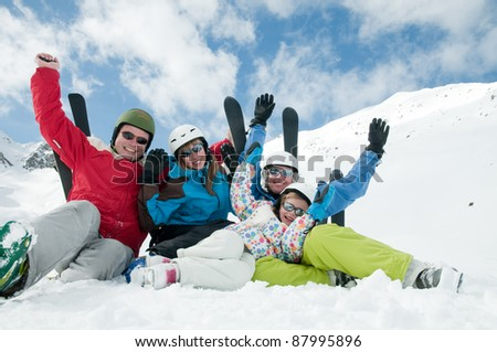 Skiing,winter -  portrait of sporty family - stock photo