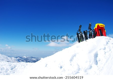 Skiing, winter season , mountains and ski equipments - stock photo