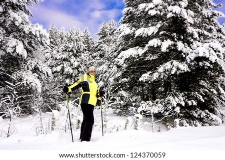 skiing woman standing in winter forest enjoys beautiful landscape. karelia region. - stock photo