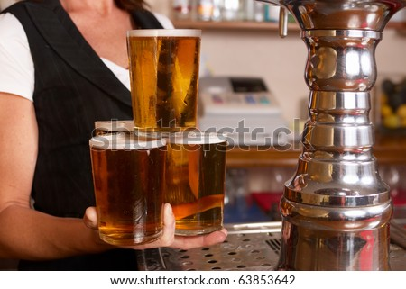 Skilful waitress - stock photo