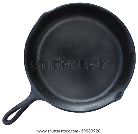 Skillet: a traditional cast iron frying pan isolated on a white background - stock photo