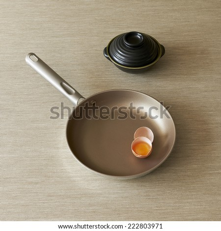Skillet fry pan and egg - stock photo