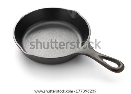 skillet isolated on white background - stock photo