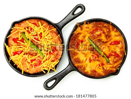 Skillet Refried Beans with Hot Peppers, Cherry Tomatos and Cheddar Cheese over white. Before and After Baked. - stock photo