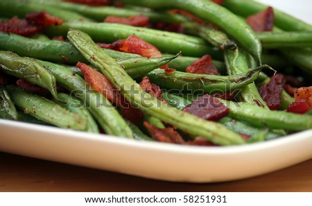 Skillet Roasted Green Beans with Applewood Smoked Bacon - stock photo