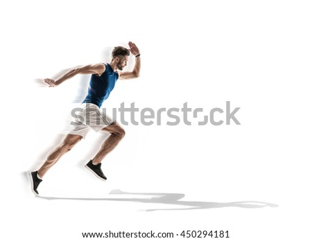 Skillful young runner is jogging - stock photo
