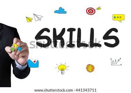 SKILLS and Businessman drawing Landing Page on white background - stock photo