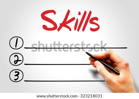 SKILLS blank list, business concept