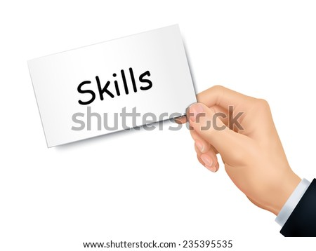 skills card in hand isolated over white background - stock photo