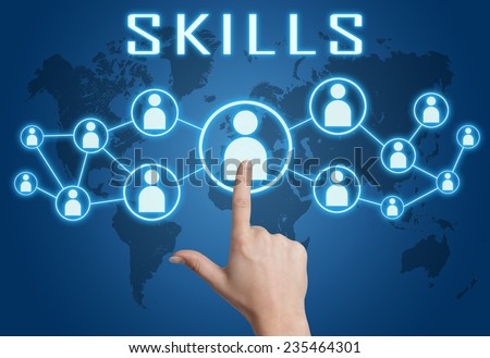 Skills concept with hand pressing social icons on blue world map background. - stock photo