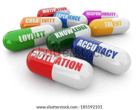 Skills for success. Pills with a list of positive qualities for employment. 3d - stock photo