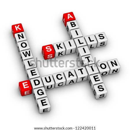 Skills, Knowledge, Abilities, Education crossword puzzle - stock photo