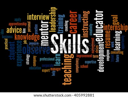 Skills, word cloud concept on black background.