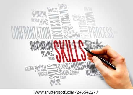 Skills words cloud, business concept  - stock photo